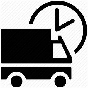 Circular clock, delivery services, delivery truck ...