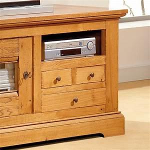 Meuble Tv Chene Massif Moderne : meuble tv en ch ne massif 1 porte 3 tiroirs ~ Teatrodelosmanantiales.com Idées de Décoration