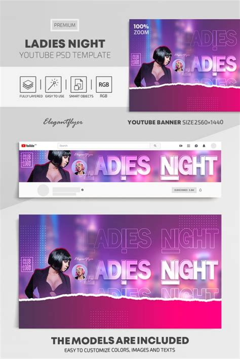 Ladies Night – Youtube Channel banner PSD Template | by ...