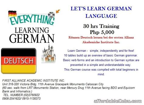 Let's Learn German Language Offer Outside Cebu Cebuphilippines 49291