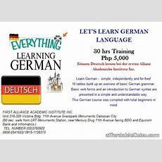 Let's Learn German Language Offer Outside Cebu Cebuphilippines 49291