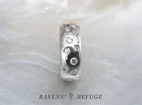 scattered diamond ring  tone hammered wedding band