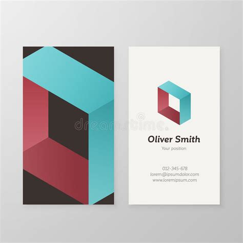 business card isometric logo letter o template stock