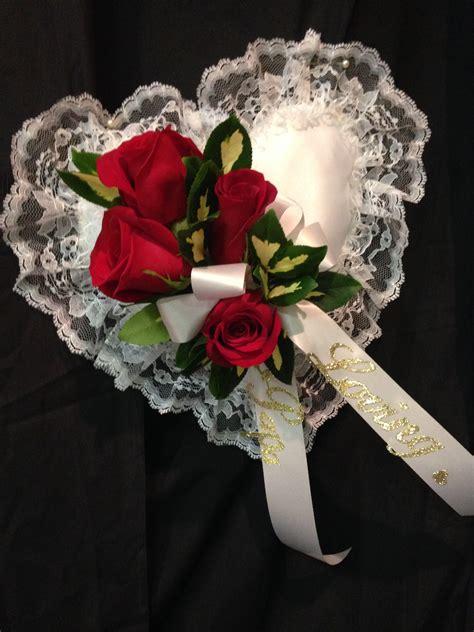 funeral flowers casket pillow arrangement arrangements floral sympathy williamsburg heart grandchildren shaped creative bow grandpa grandfather howell website