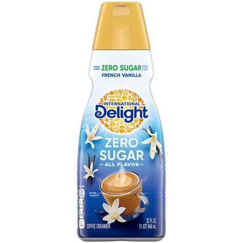 This french vanilla flavored creamer contains no lactose, zero trans fat and cholesterol, and is sugar free, making it an excellent choice for a healthy lifestyle. International Delight Sugar Free French Vanilla Coffee Creamer, 1 Quart - Walmart.com - Walmart.com