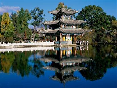 China Temple Asian Lake Reflection Architecture Wallpapers