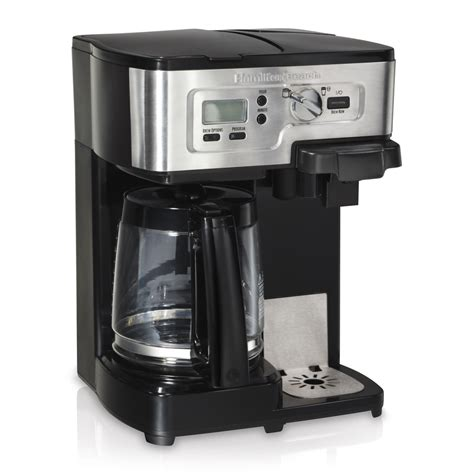 2 pot coffee maker shop hamilton black stainless steel 12 cup programmable coffee maker at lowes