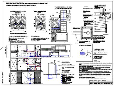 plumbing water sanitary installation details dwg