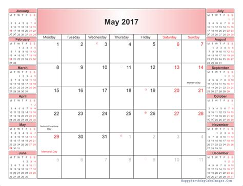 may 2017 calendar printable template with holidays