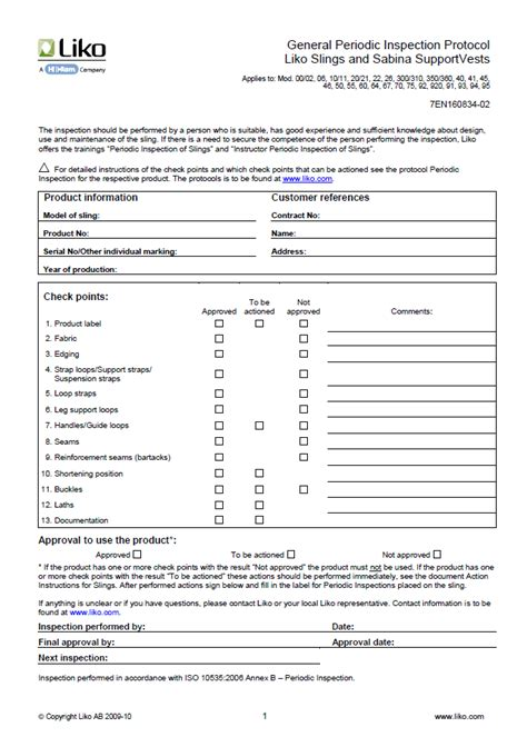sling inspection form template hill rom 174 clinical resource center