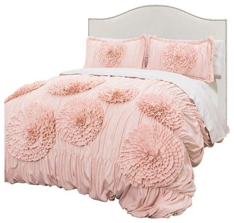 blush pink bedding sets serena pink blush 3 comforter set traditional 4852