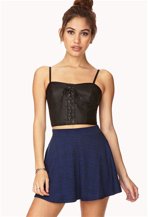 lace up cropped top forever 21 dynamite lace up crop top in black lyst