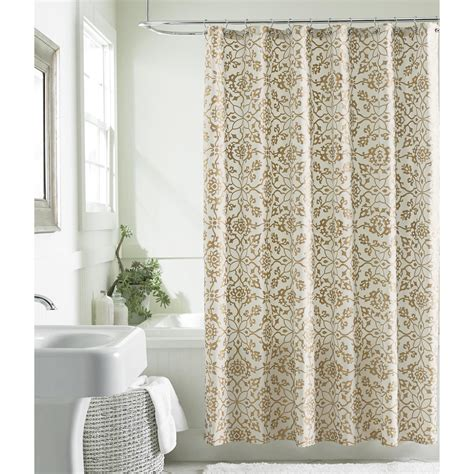 sears shower curtains grand resort scroll shower curtain gold