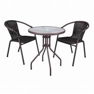 Table Et Chaise Bistrot : 2 chaises bistro empilable table ronde verre achat ~ Teatrodelosmanantiales.com Idées de Décoration
