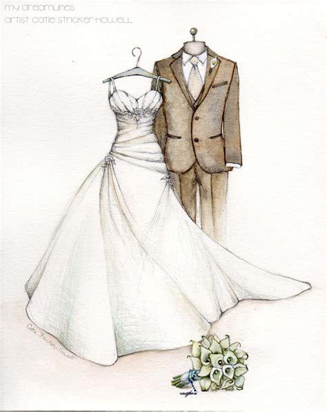 wedding dress sketch    anniversary gift