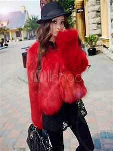 Fausse Fourrure Rouge : encoche rouge col fausse fourrure chic fausse fourrure veste pour femmes ~ Teatrodelosmanantiales.com Idées de Décoration