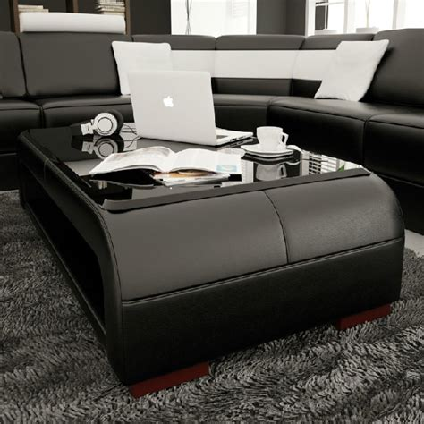 divani casa ev modern black bonded leather coffee table