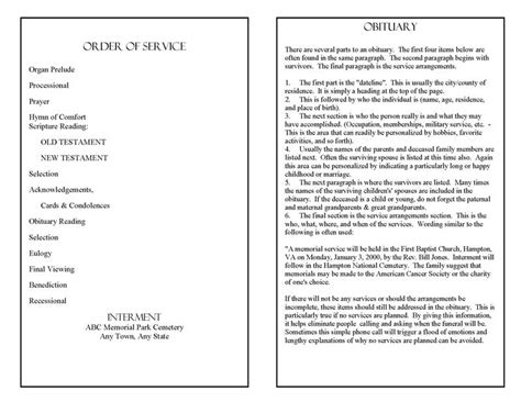free obituary program template funeral program template funeral programs