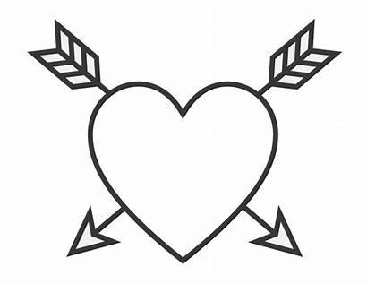 Heart Coloring Easy Arrows Valentine Blank Corazones