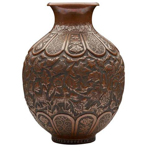 copper vase antique antique copper vase with birds and animals 19th 2588