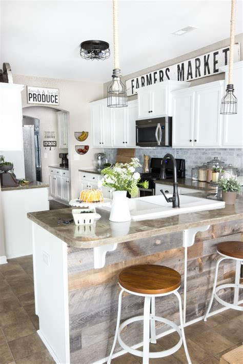 Modern Above Kitchen Cabinet Decor by Modern Farmhouse Kitchen Makeover Reveal Bless Er House