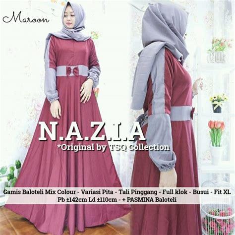 rok katun polos warna gamis remaja nazia maxi baloteli baju muslim modern