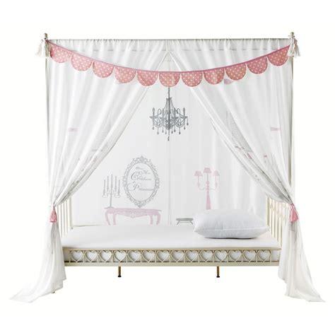 rideau pour lit 224 baldaquin en coton blanc 105 x 210 cm princesse maisons du monde