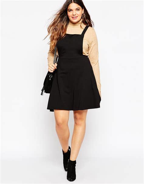 dress basic kancing lyst asos jersey basic pinafore dress in black