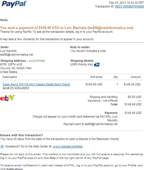 email phishing scam fake paypal receipt   paypal