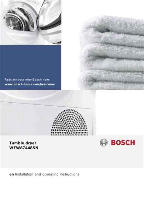seche linge en anglais bosch wtw87448 mode d emploi notice d utilisation manuel utilisateur t 233 l 233 charger pdf