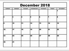 Get Free Download December 2018 Calendar Template