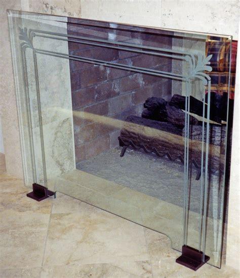 glass fireplace screen glass fireplace screen etched glass filigree