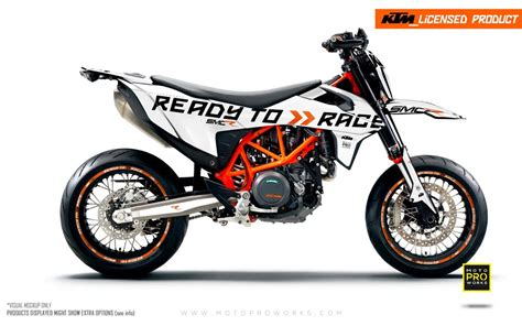 ktm graphic kit 690 smc r quot ready2race quot white motoproworks decals and bike graphic kit