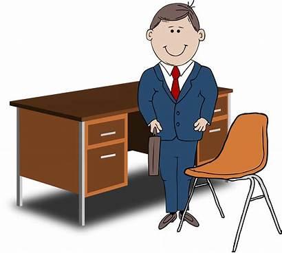 Teacher Manager Desk Chair Between Clipart Office