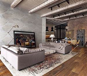 Industrial, Style, For, Living, Room, Design, Apply, With, Concrete, Brick, And, Wooden, Touched