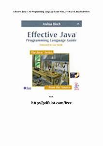 Effective Java  Tm  Programming Language Guide With Java
