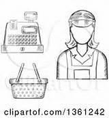 Cashier Clipart Register Vector Royalty Sketched Basket Outline Graphics Cashiers Clerk Poster Cartoon Female Print Rf Illustrations Tradition Sm Clipartof sketch template