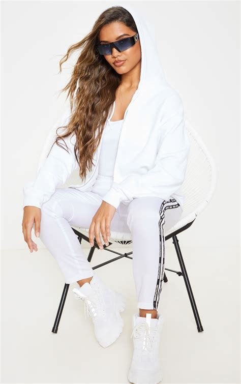 white fleece zip  hoodie tops prettylittlething