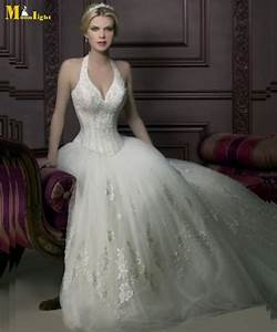 Wedding dresses yw032 free shipping affordable sexy halter for Corset top wedding dress