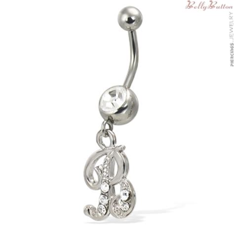 cursive initial belly button ring letter