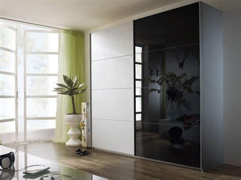 White And Black Sliding Glass Door Wardrobe Design