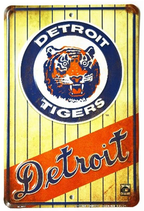 detroit tigers tin metal sign mlb baseball al miguel
