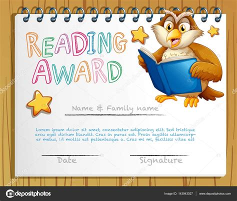 certificate templates with photos certificate template with owl reading book stock vector