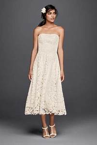 floral cutout lace tea length wedding dress david39s bridal With floral tea length wedding dress