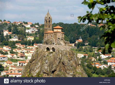 michel d aiguilhe church on the rock at le puy en velay stock photo royalty free image