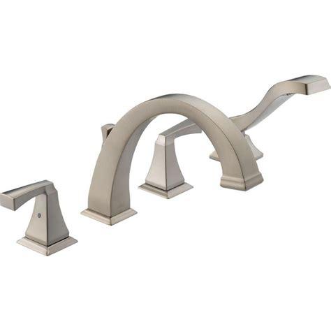 delta dryden 2 handle deck mount roman tub faucet with