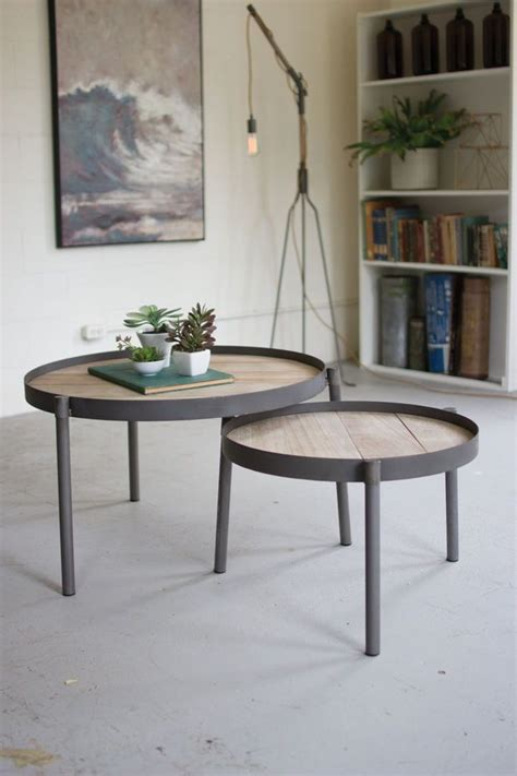 Enhance your outdoor space with a modern, durable coffee table or console table from room & board. SET OF 2 ROUND IRON NESTING COFFEE TABLES WITH WOODEN TOPS | Muebles, Diseño madera, Muebles ...