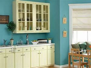 Sky blue wall paint with cream white for cabinets for Kitchen colors with white cabinets with fiber art wall hanging
