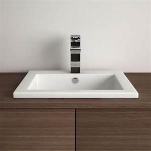 vasque a encastrer carree 425x425 cm plage de robinet With vasque salle de bain a encastrer