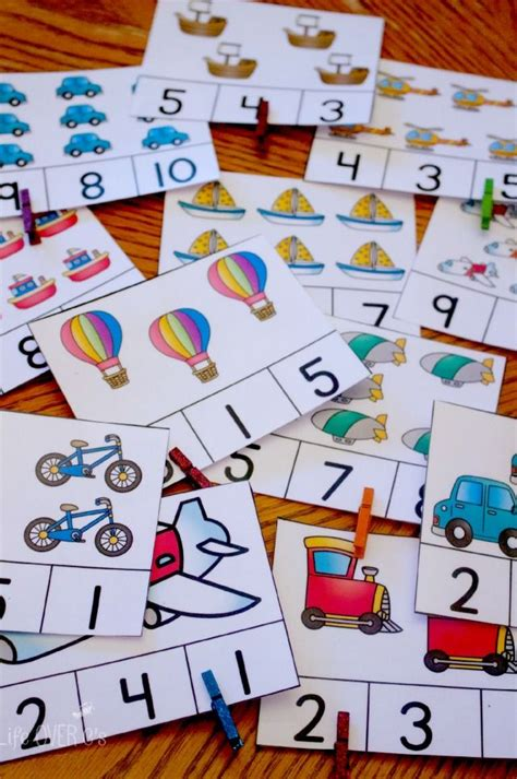 transportation themed printable  counting